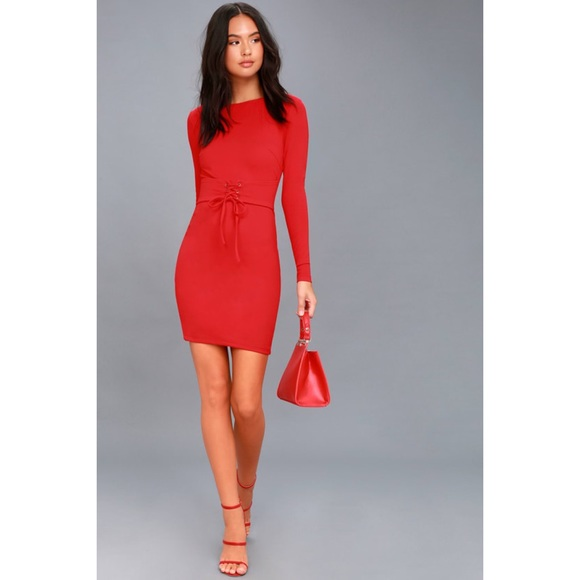 Lulu's Dresses & Skirts - Lulus Hearts Aflame Red Long Sleeve Bodycon Dress